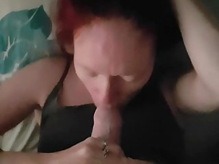 Wife sucking cock facefucked mouth used redhead slow