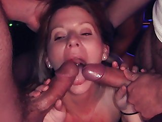 Cute girl gets fucked in the theater room