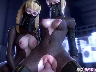 Hot 3D babes threesome sex drilling