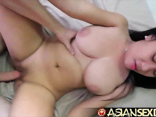 Asian Sex Diary - Young Asian babe with amazing big tits gets white cock