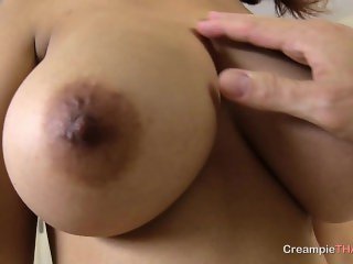 Massive natural tits on creampie Thai girl