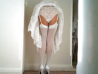 White lace Slip And Panties with White Stockings