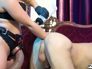 Big Tits with curves Lena Paul double fists and pegs with mrHankeys dildo