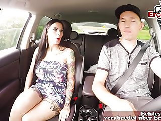 German hitchhiker amateur teen bitch get creampie in car