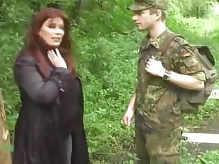 Very Busty Cougar MILF Seduces Young Soldier On Duty