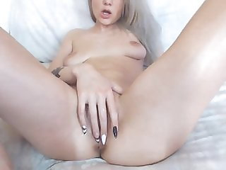 Blonde cute perfect body open and gape her little cunt