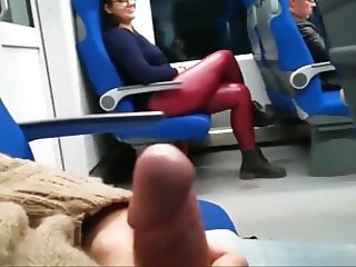 Hot Babe Jerking Off Stranger's Cock in Public Bus