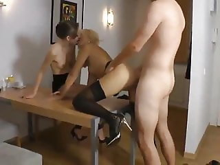 Skinny Experienced Guy Fucks MILF in Front of Girlfriend