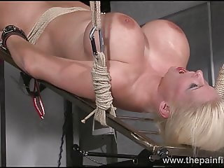 Rough water bondage and interracial slave sex of busty maso