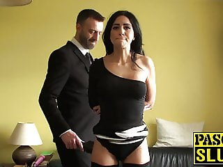 Sub cutie gets rough sex from a dominant male in a tux