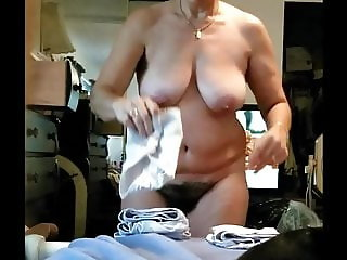 Mature Hairy Wife Trying on Panties