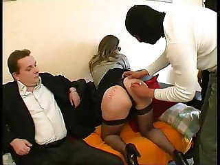 French husband sharing his slut wife in gangbang