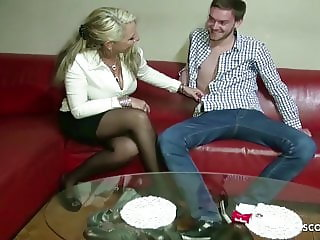 German Mother talk College Friend of Daughter to Fuck her