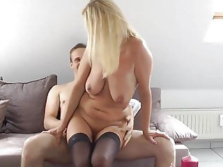 horny mature milf with big tits likes her young roommate boy