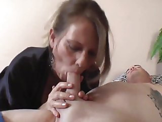 horny mature milf takes creampie with her young roommate boy
