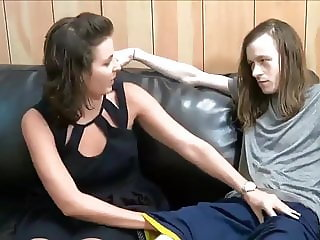 skinny boy with very big cock cums inside his first milf