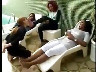 White bitch slave have 6 black goddess feet to clean
