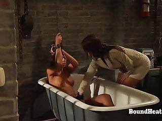 Lesbian Girl In Chains Screams During Mistress's Training