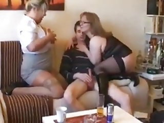 skinny nerd in glasses with big cock cant handle with 2 milf