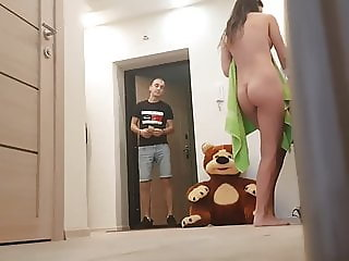 Girl flashing another delivery guy (not mine)