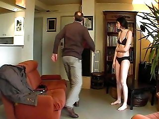 CMNF - Cute French girl stripped spanked en punished