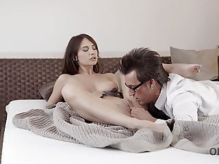 OLD4K. Daddy pushes has cock into juicy vagina of nice young