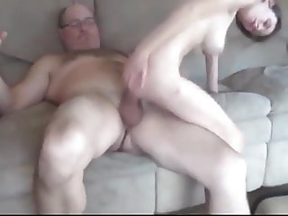 Hairy Busty Bitch Loves Her New 60Yo Owner of an Apartment
