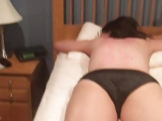 Unaware wife foot and ass massage