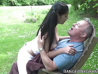 Babe with huge natural tits banged outdoor by lucky grandpa