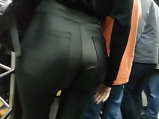 Big ass in tight leather pants
