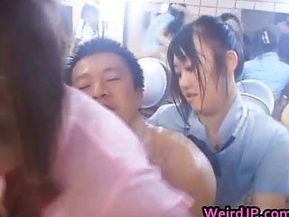 Asian gangbang sex action
