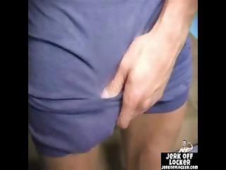 Muscle dude loves to play with his cock
