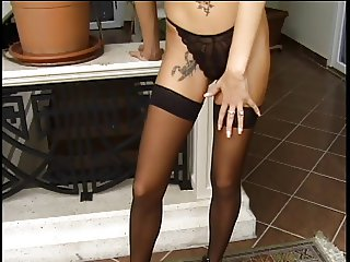 Blonde bends over for big cock in her ass