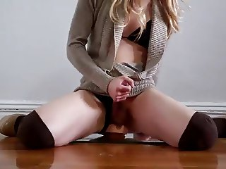 Blonde Crossdresser Rides Dildo And Cums