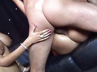 British Female twins and friend get fucked on stage