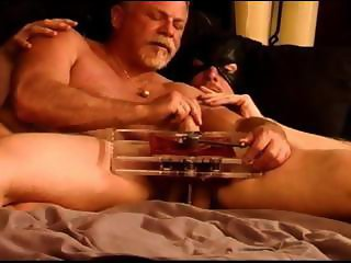 Gorgeous built hung stud Eric's first time ball crushing CBT session using my vise then my hand.