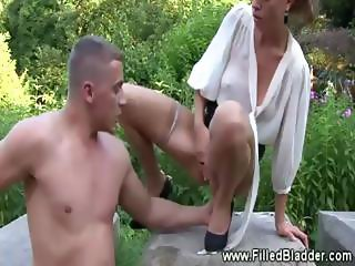 Public shower for hot lady