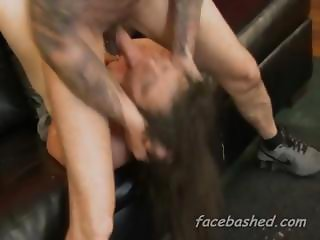 Teen extreme pile driver face fucking causing her to choke badly