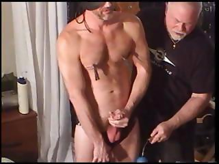 CBT me and my buddy bash our sub's balls with a mallet as he jacks his cock.