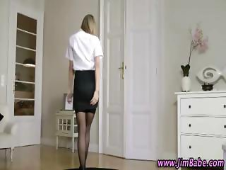 Tight ass blonde prances around wanting to get fucked hard