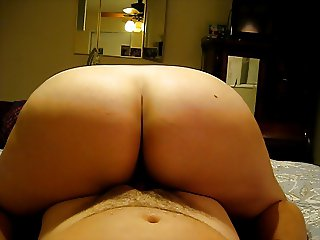 Wife's big white ass riding reverse cowgirl