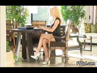 Hot blond babe working on her laptop part6