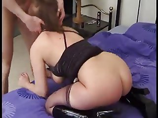 Chubby chick in boots fucked in her bed