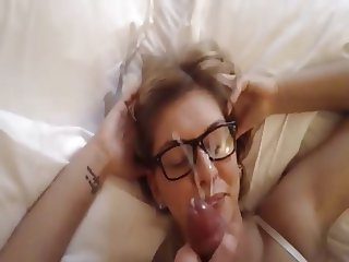 Cum on Cute Girl's Glasses