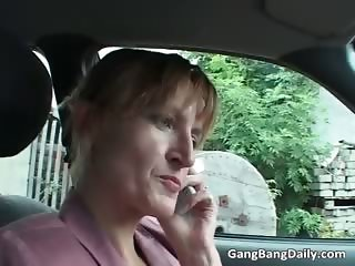 Vicious gang bang with brunette milf part6