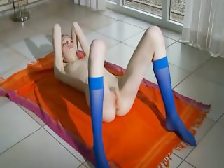Blue socks and thin hairy pussy