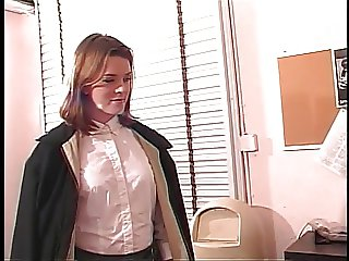 Perfect young shaved pussy brunette gets her asshole fucked on office desk
