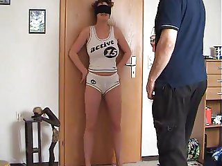 Woman gets her cunt and tits slapped and kicked