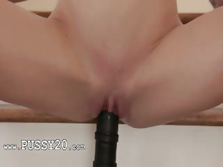 Brutal toy in shaved fairhairs pussy