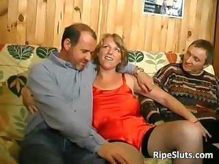 Horny mature whore gets fucked by two part5